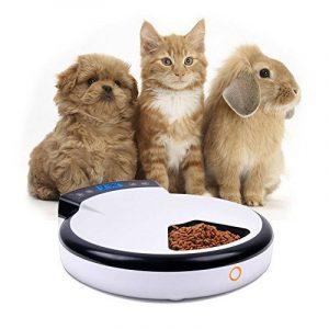 Jcotton Distributeurs automatiques de nourriture, Alimentateur automatique pour chiens et chats avec rappel vocal, 5 repas, aliments secs et humides, écran LCD, plus sain, 240 ml x 5 de la marque JCOTTON image 0 produit